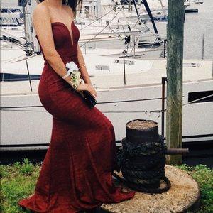 Burgundy strapless sparkly prom dress
